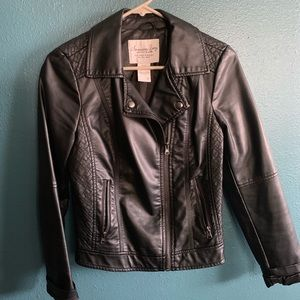 Black Faux Leather Jacket Womens Size S Quilted